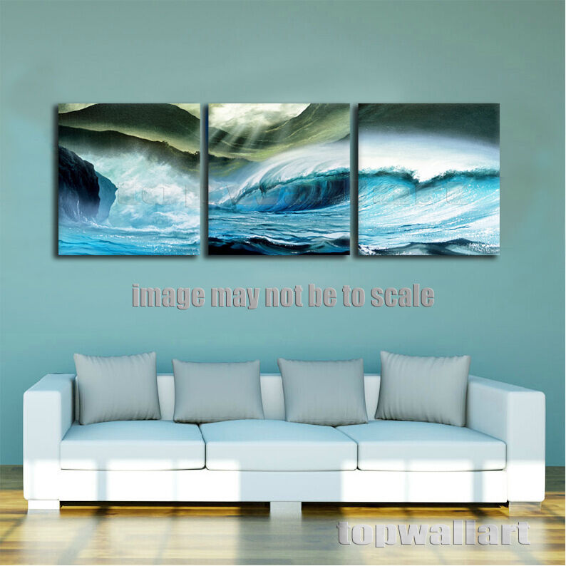 Framed canvas print ocean waves poster beach wall painting pictures home decor ebay - Canvas prints home decor photos ...