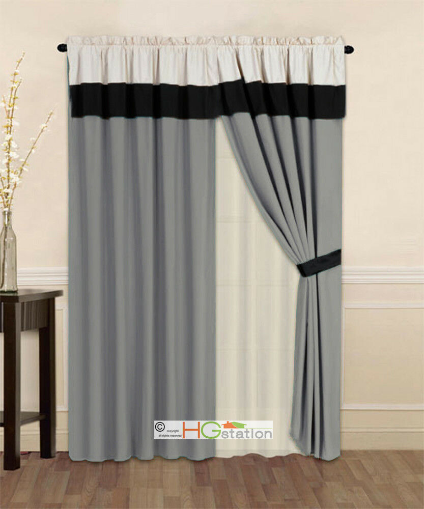 4 p striped solid modern curtain set silver gray black beige valance liner drape ebay. Black Bedroom Furniture Sets. Home Design Ideas