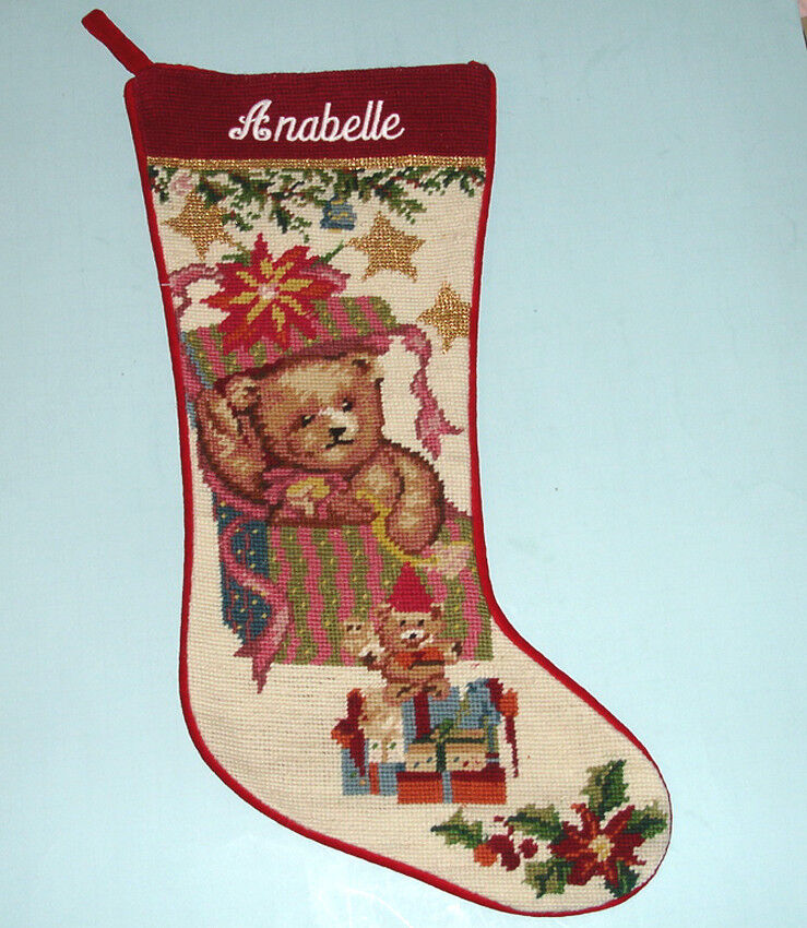 Sferra Needlepoint Stocking Embroidered Annabelle Teddy
