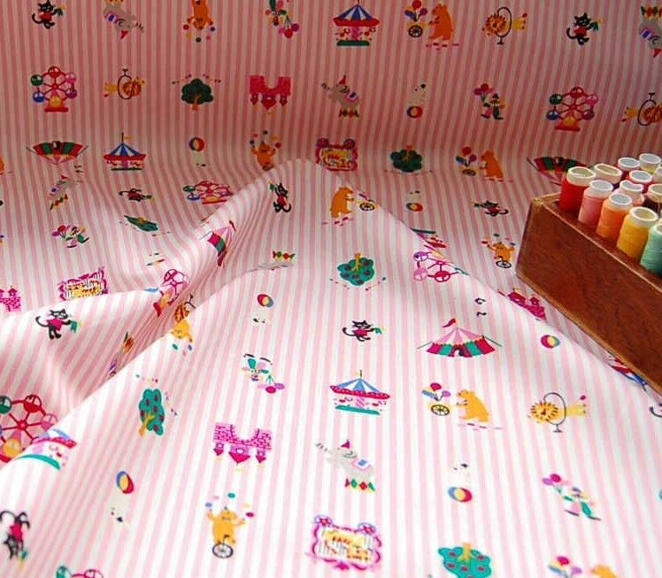 100 cotton fabric baby pink nursery stripes circus for Nursery fabric uk