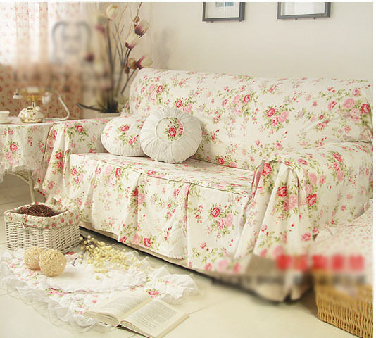 shabby chic cottage floral sofa couch cover pleats 2 seater white ebay. Black Bedroom Furniture Sets. Home Design Ideas