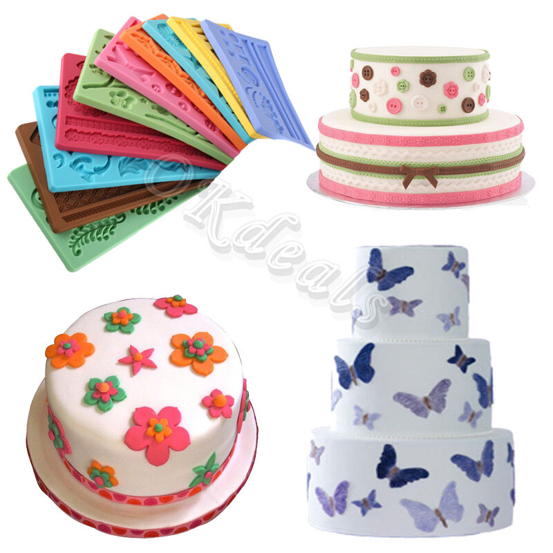 New 14 Types of Silicone Fondant Cake Embossing Gum Paste ...