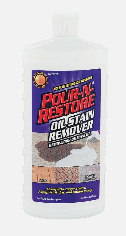 32oz pour n restore oil grease stain remover decks patio for Driveway stain remover