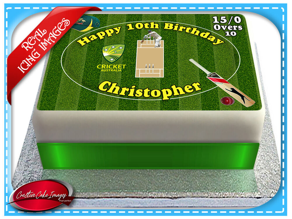 Cricket field edible cake image icing personalised a4 for How to make edible cake decorations at home