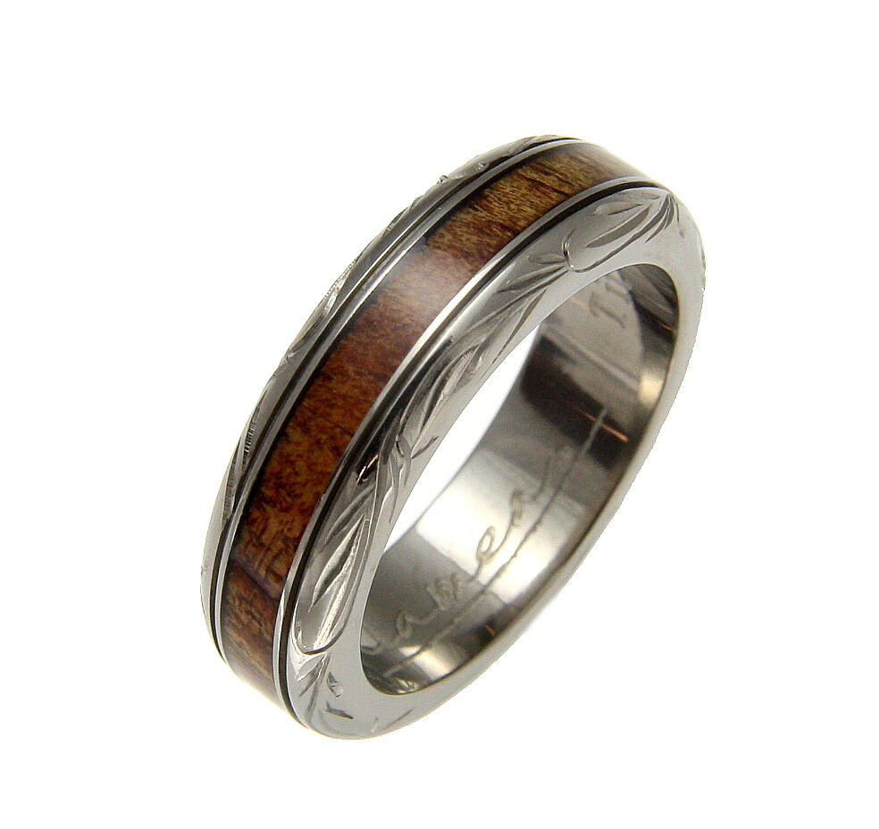 GENUINE INLAY HAWAIIAN KOA WOOD WEDDING BAND RING TITANIUM SCROLL 6MM SIZE 4