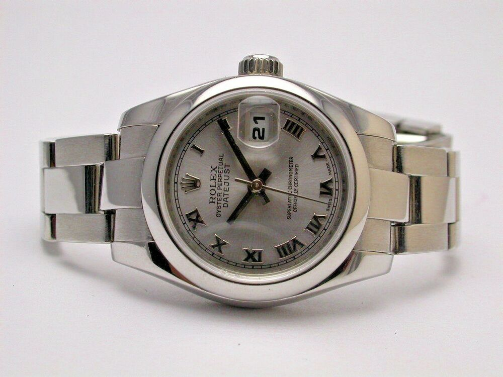 One Click Loan >> ROLEX 179160 DATEJUST OYSTER PERPETUAL SS SILVER DIAL ROMAN NUMERAL LADIES WATCH | eBay