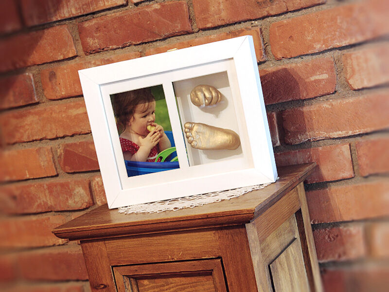 Wooden Frame With 3d Gold Color Memory Prints Baby Kids