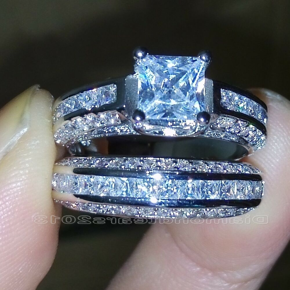 wedding and engagement ring set size 5 10 princess cut 10k white gold filled white topaz 8383