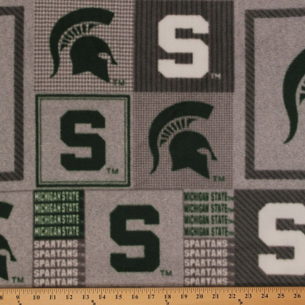 college michigan state university msu 158 grey fleece fabric print by the yard ebay. Black Bedroom Furniture Sets. Home Design Ideas