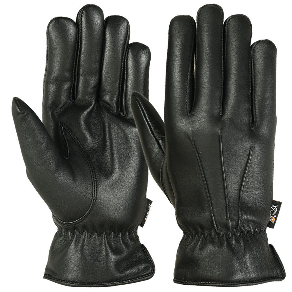 Mens Winter Gloves Warm Thermal Lining Genuine Leather