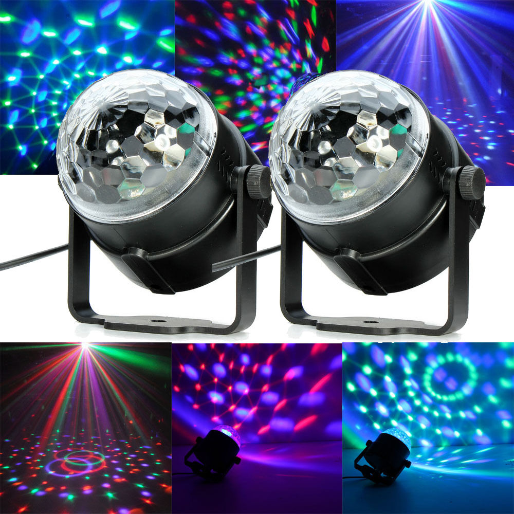 2x rgb magic rotating ball effect led stage lights party club bar disco dj hot ebay. Black Bedroom Furniture Sets. Home Design Ideas