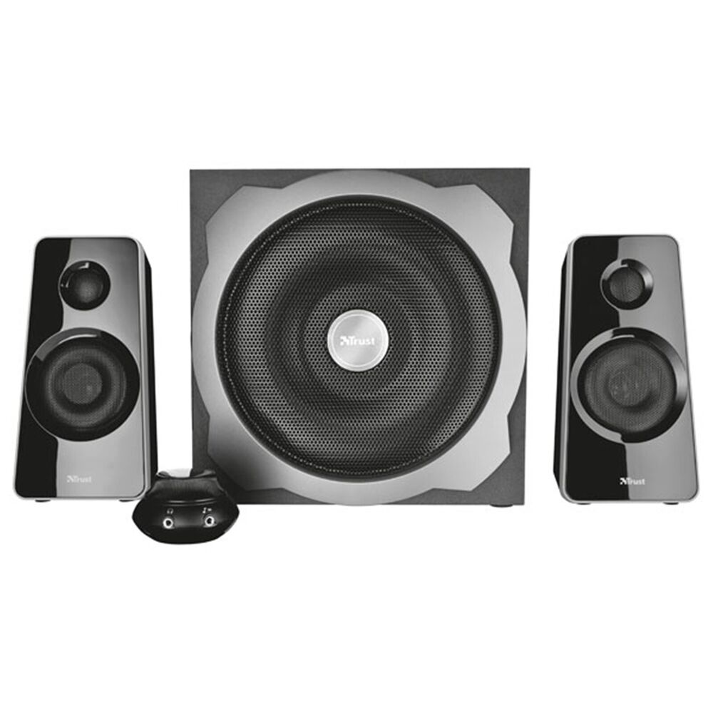trust 19020 tytan 2 1 subwoofer speaker speakers set for pc computer black ebay. Black Bedroom Furniture Sets. Home Design Ideas