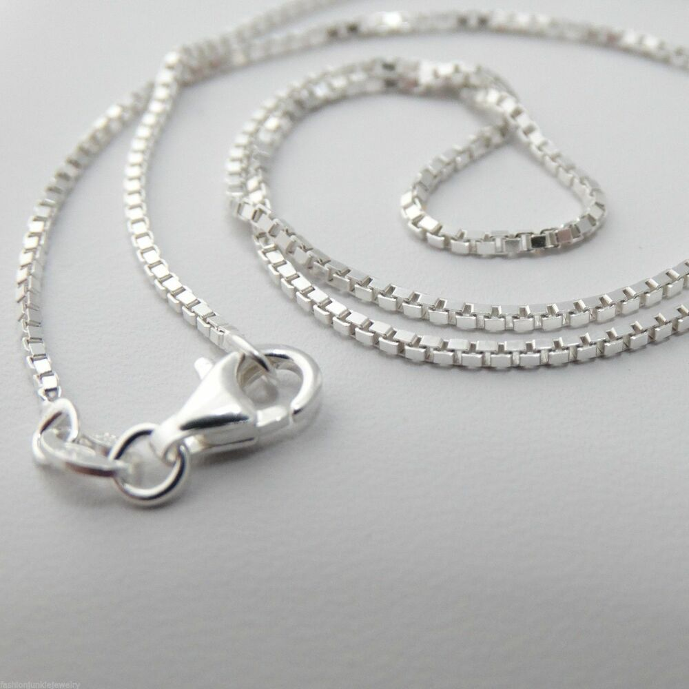 sterling silver box chain necklace 925 italy 1 2mm 16 quot 18