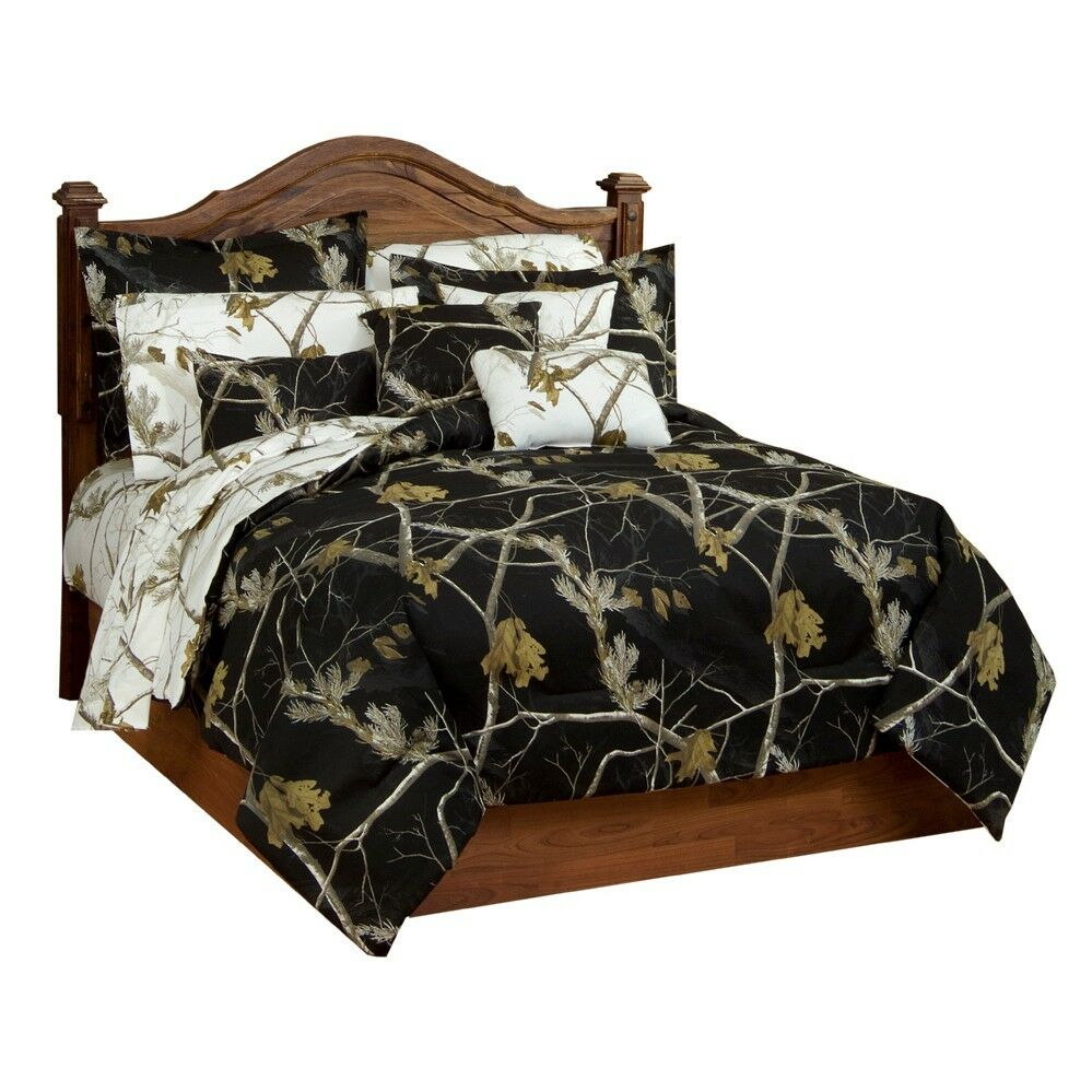 Realtree AP Black Snow Camo Bedding forter & Sham Set