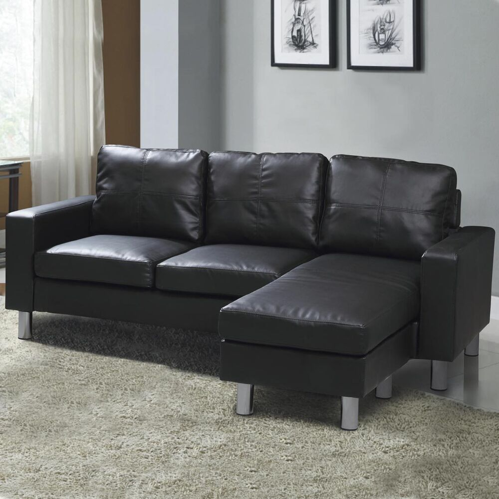 Modern compact l shaped corner sofa settee black faux for Black and grey couch