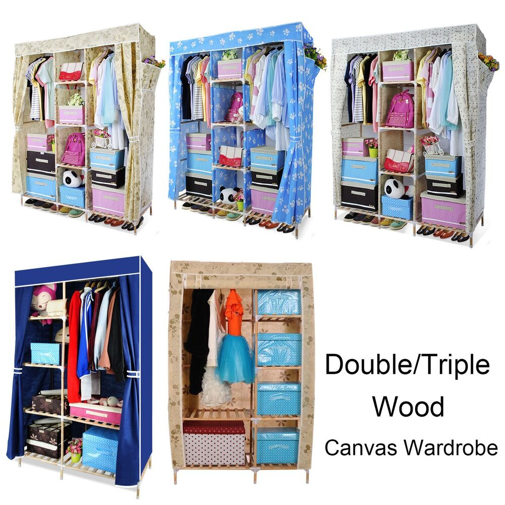 wood triple multiple canvas clothes storage wardrobe. Black Bedroom Furniture Sets. Home Design Ideas