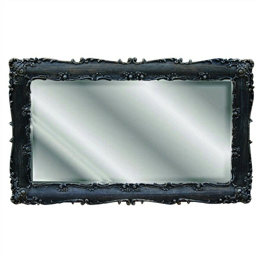 Hickory manor decorative rectangle mirror black gold for Rectangle mirror
