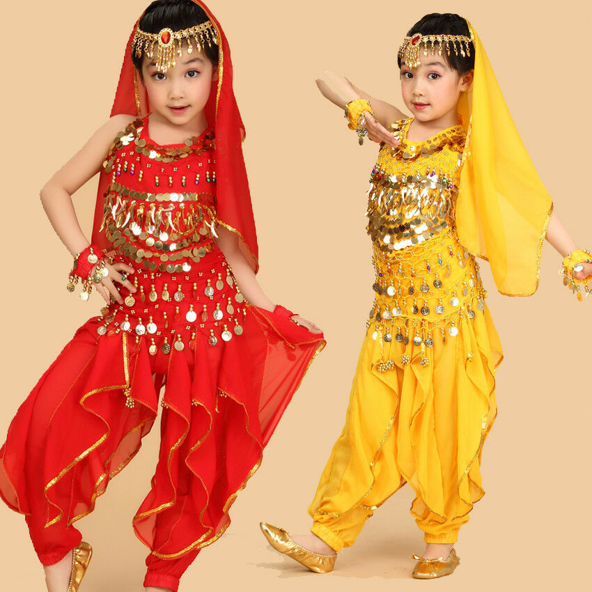 Kids Girls Belly Dance Costume Outfit Top Pants Bollywood ...
