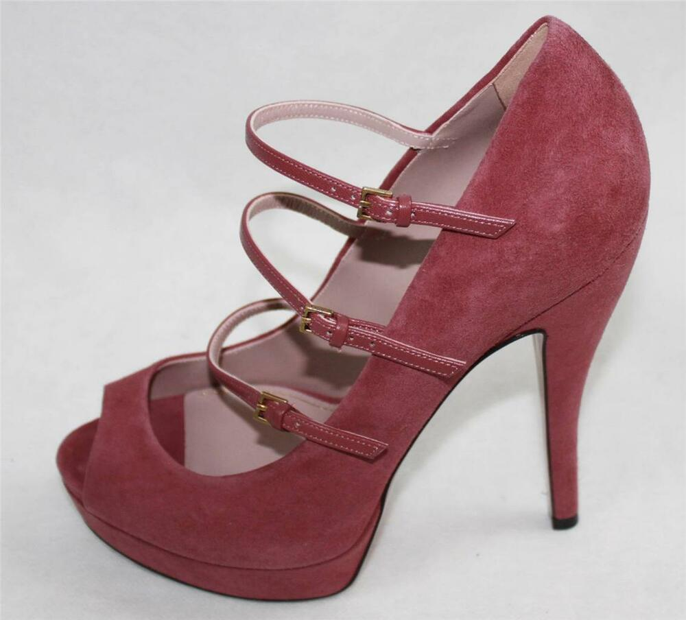 auth 795 gucci women suede high heel pumps shoes 37 ebay. Black Bedroom Furniture Sets. Home Design Ideas