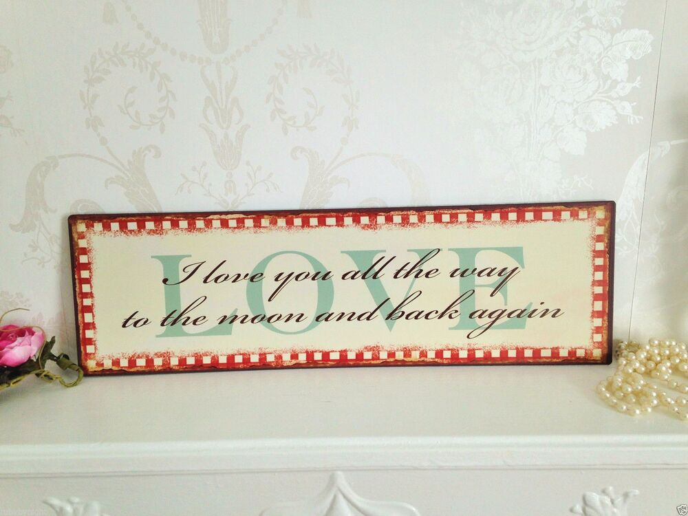 I love you to the moon sign vintage retro wall art shabby - Vintage and chic love ...