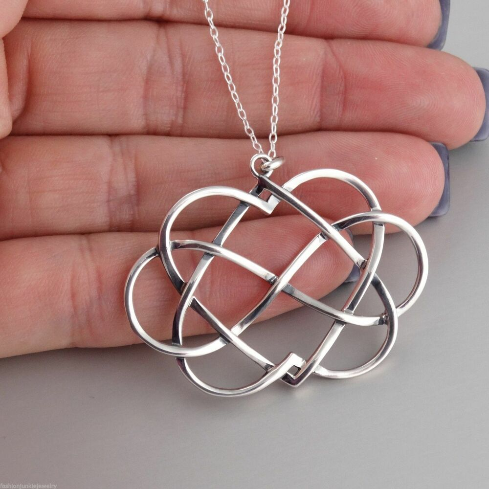 infinity double heart necklace 925 sterling silver. Black Bedroom Furniture Sets. Home Design Ideas