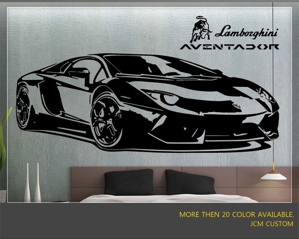 Lamborghini aventador sport car wall decal 58 x 22 ebay for Cars wall mural sticker