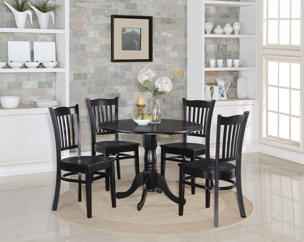 5pc set round kitchen table w 4 wood seat chairs in black finish ebay. Black Bedroom Furniture Sets. Home Design Ideas