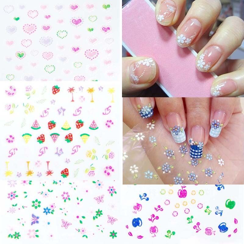 Mixed decal stickers diy 10 sheets 3d nail art manicure for 3d nail art decoration