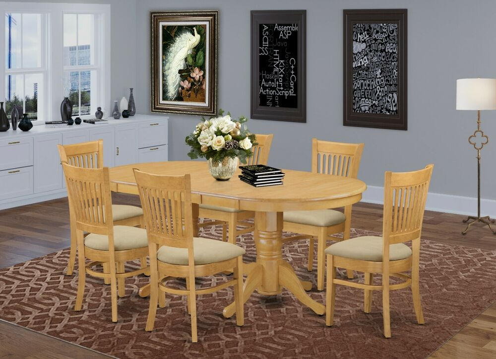 7 pc oval dinette dining room set table 6 microfiber for Wooden dining room chairs