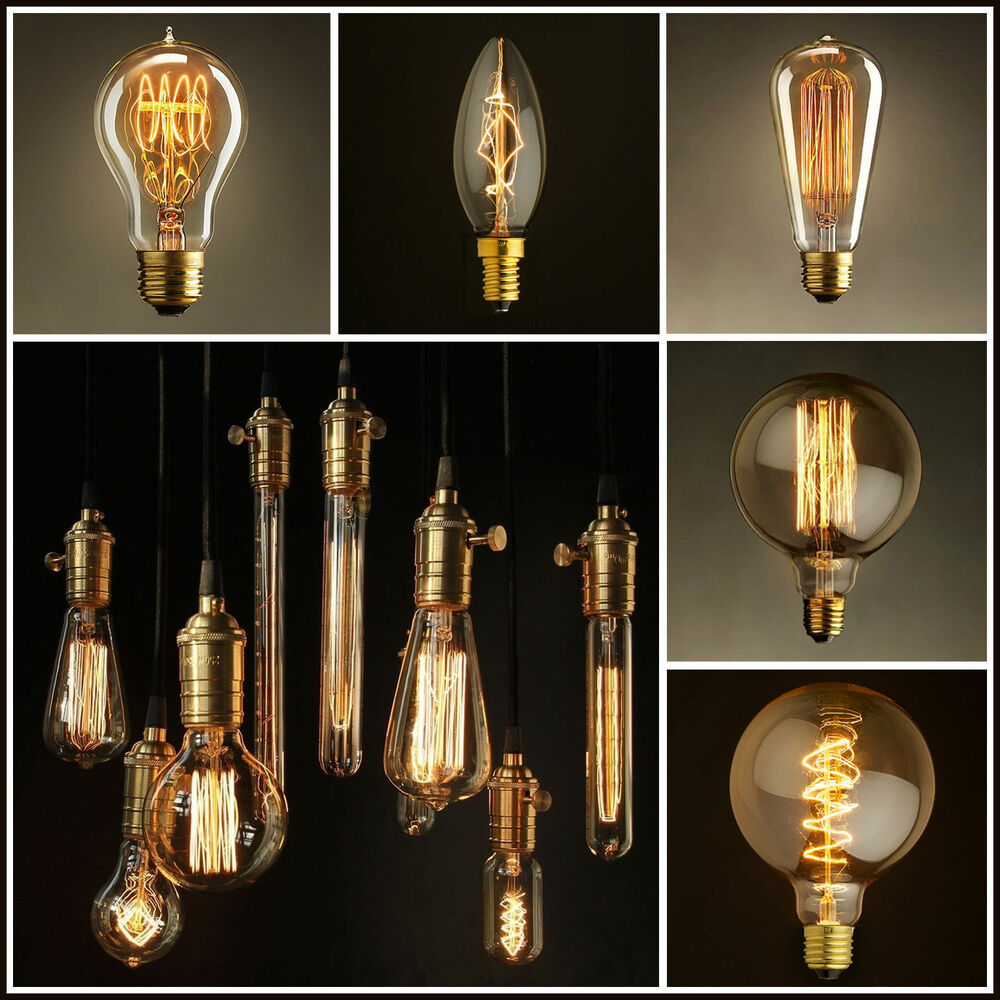 vintage retro filament edison antique industrial style lamp light bulb e27 40w ebay. Black Bedroom Furniture Sets. Home Design Ideas