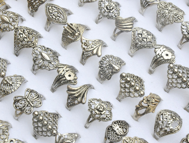 30pcs Wholesale Jewelry Mixed Lots Tibet Silver Rings Vintage Style Party Gift Ebay