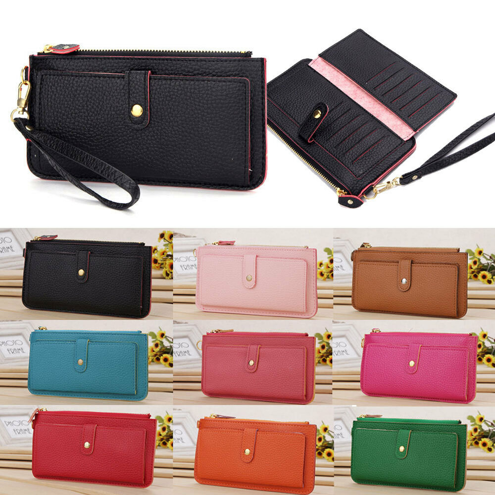 Womens Leather Zipper Zippered Coin Credit Card Wallet ...