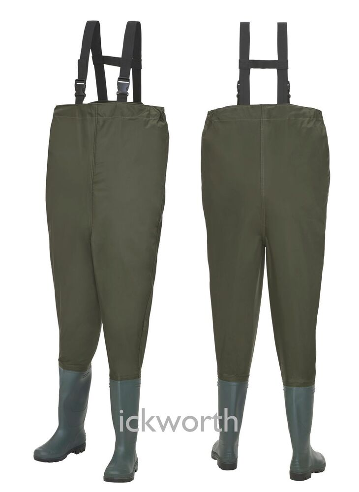 Fishing nylon chest waders waterproof elasticated fly for Fishing waders with boots
