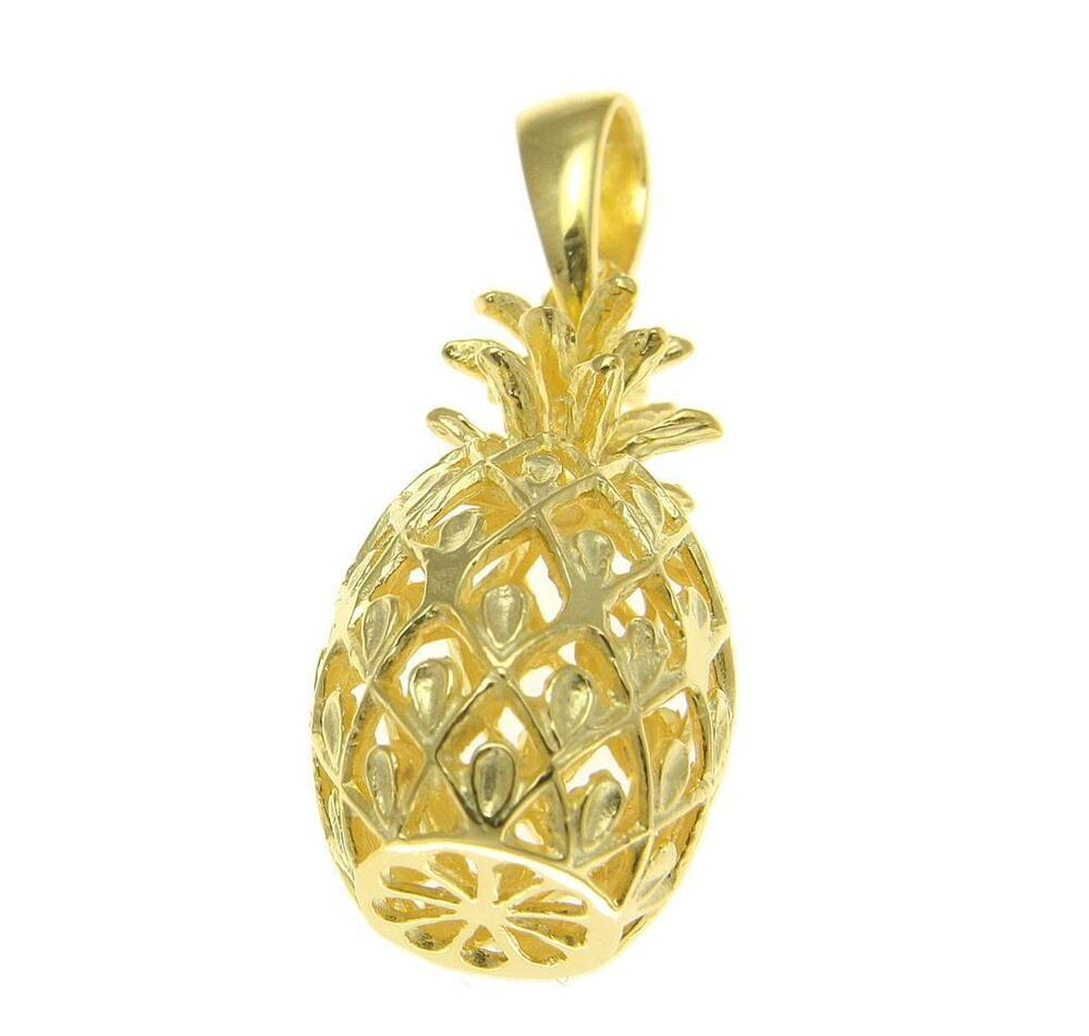 Yellow Gold Sterling Silver 925 Hawaiian 3d Pineapple