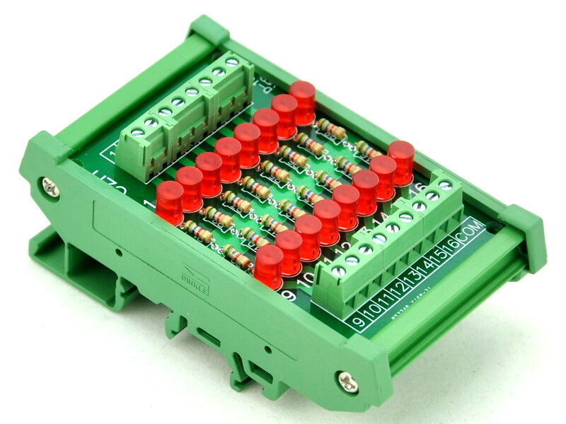 Din Rail Mount 16 Channel Common Anode Led Indicator Gate