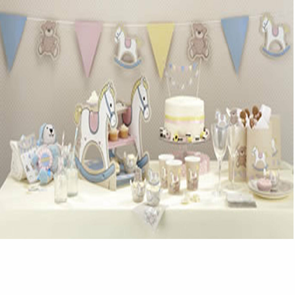 bye baby shower christening party tableware plates cups napkins