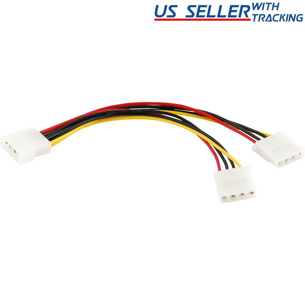 4 Pin Molex Male To 2x Female Power Y Splitter Cable Ide Ip4 Sata Wiring Diagram Extension Adapter 845832007267 Ebay
