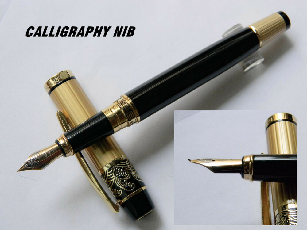 Hero 901 Fountain Pen Gold Black Calligraphy Nib Ebay