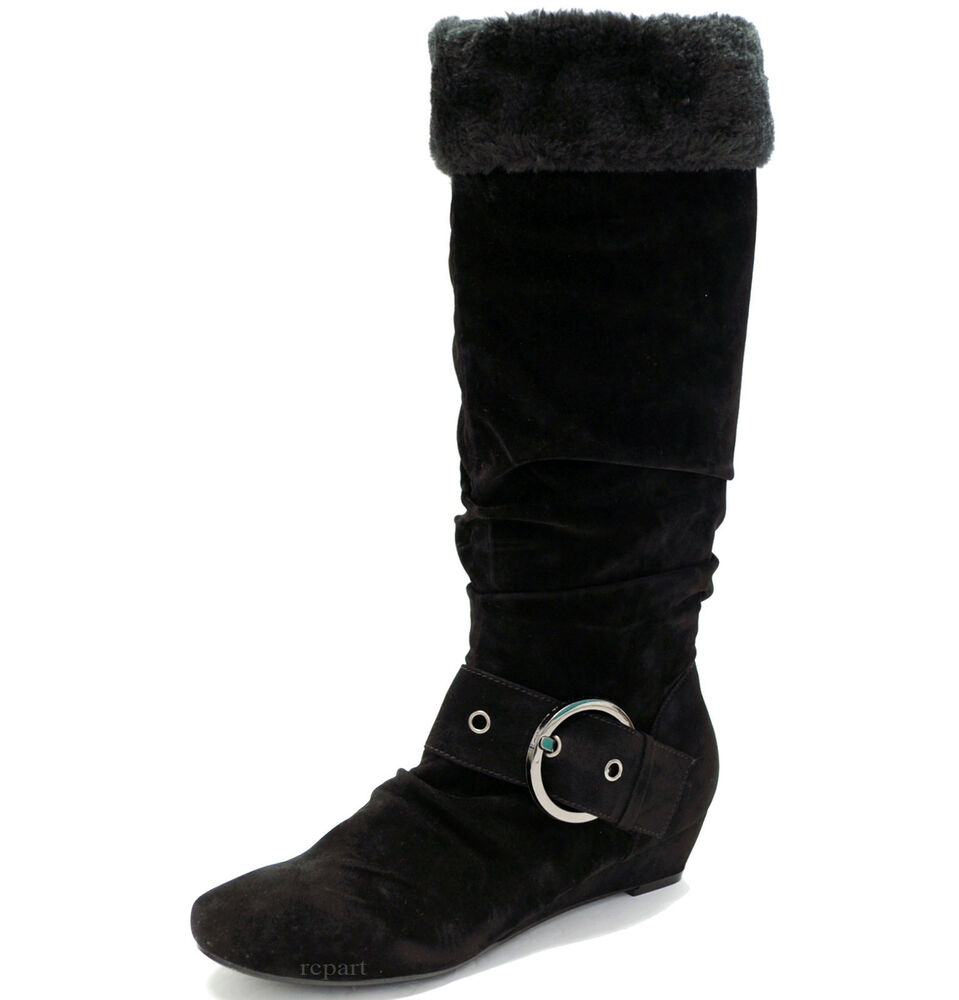 new s shoes mid shaft boot wedge faux fur trim black