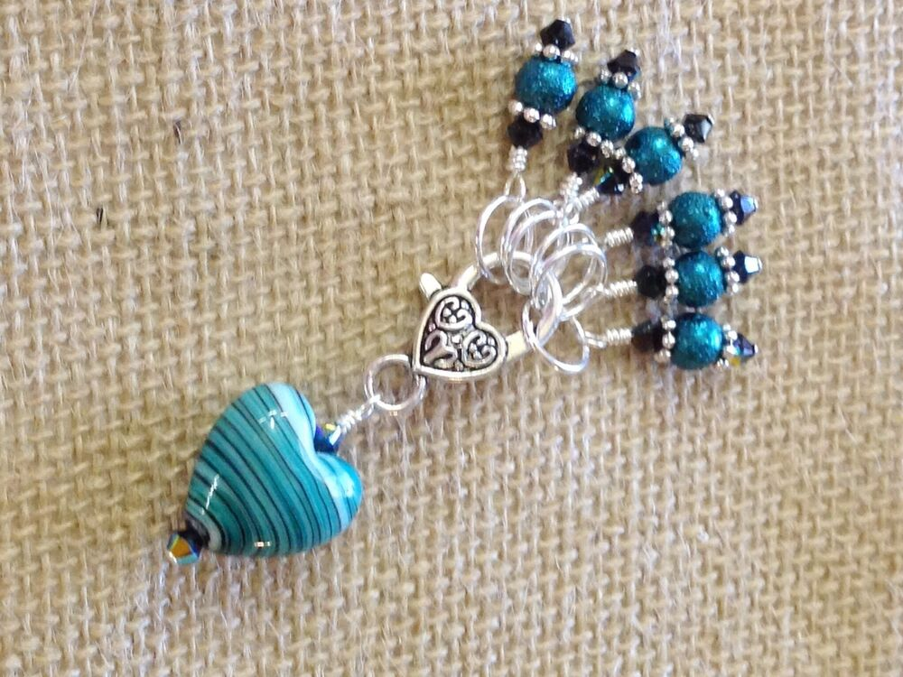 Handmade Beaded Knitting Stitch Markers (SNAG FREE) with Teal Heart Holder ...