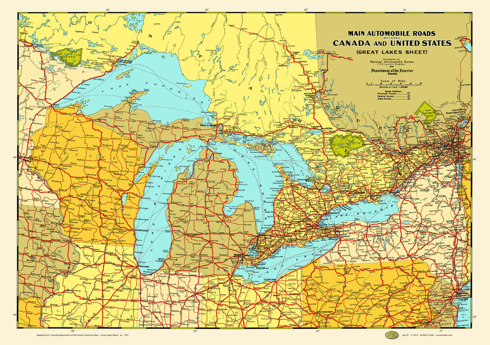 Great Lakes States Provinces 1930 Map Poster Vintage