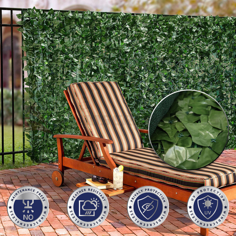 """Garden Decor Screen: 58.5"""" Tall ArtificialFaux Ivy Leaf Privacy Fence Screen"""