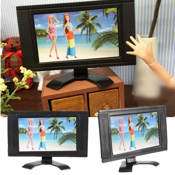 Dollhouse Miniatures Tv: Flat Screen LCD TV Child Play For Barbie Doll Dollhouse