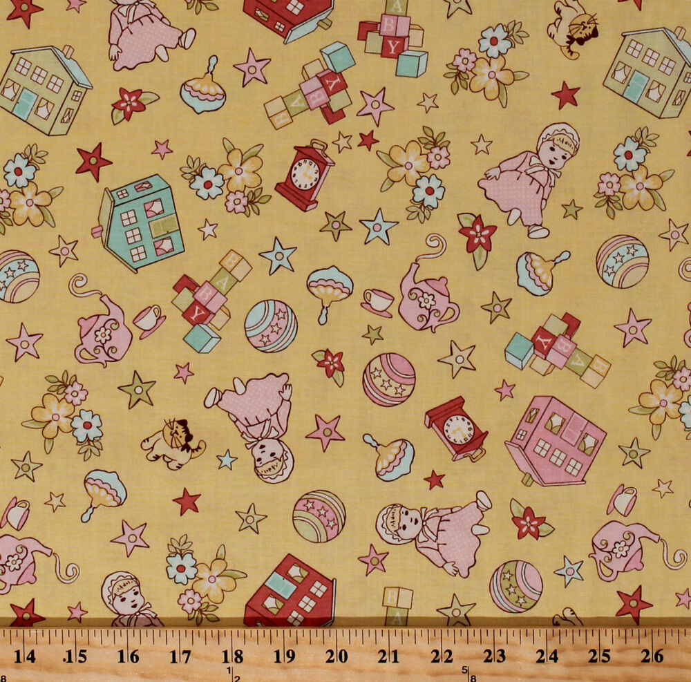 Riley Blake Vintage Baby Dolls House Toy Cotton Fabric ...