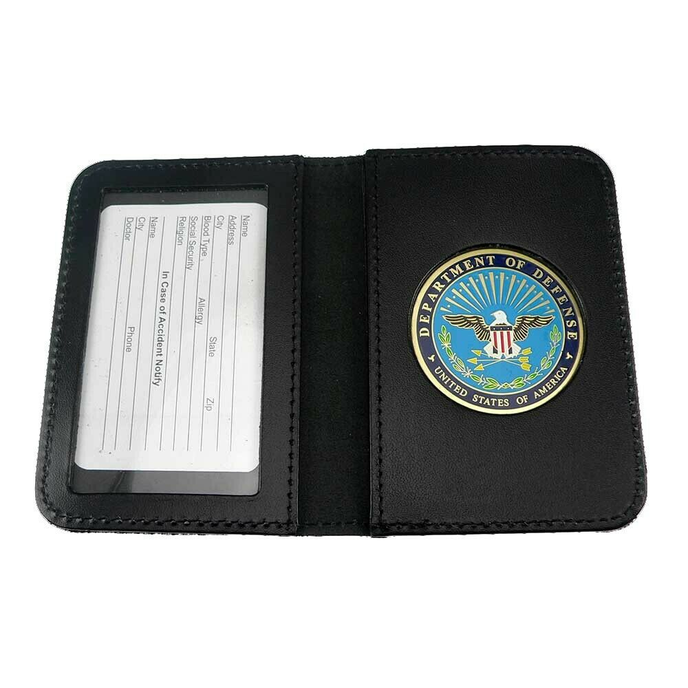 DOD Defense Department Leather Military ID Card Contractor ...