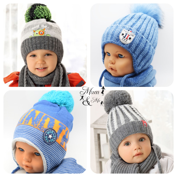 NEW Cute Kids Baby Boys Hat Knitted Winter Set Cap with Scarf Tie up Warmer