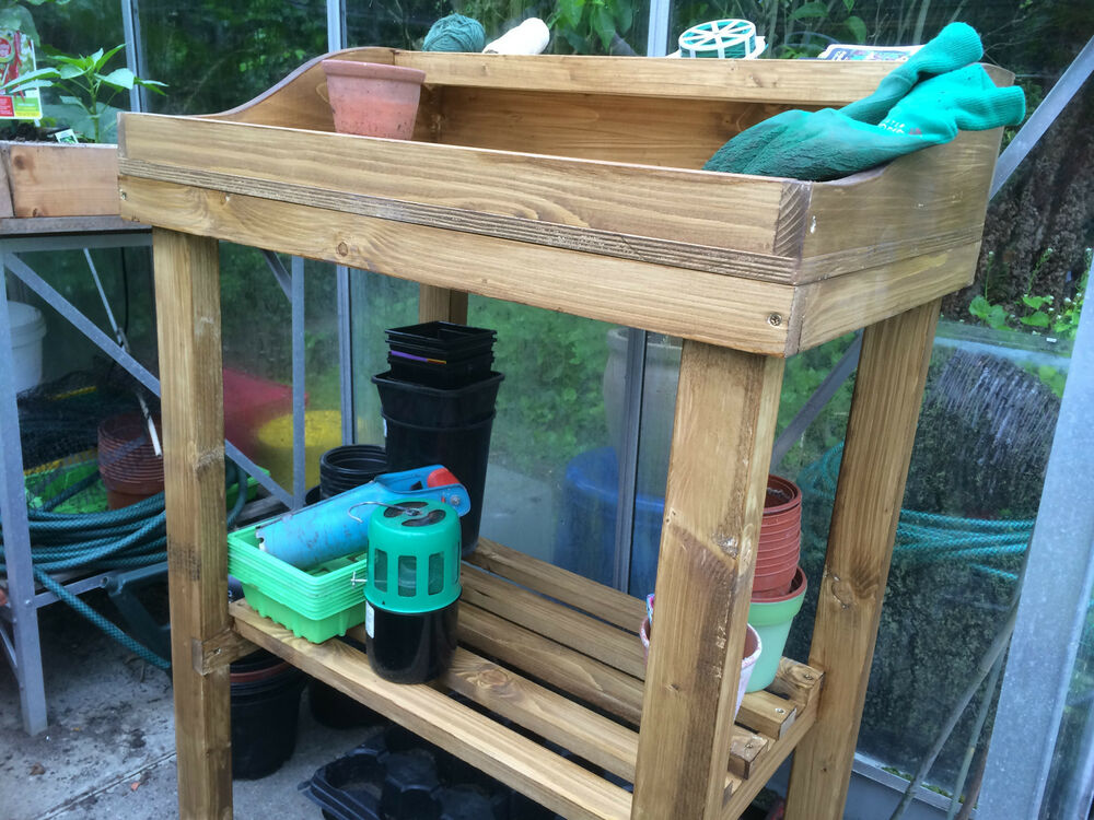 Wooden potting table solid bespoke for garden for Buy potting shed