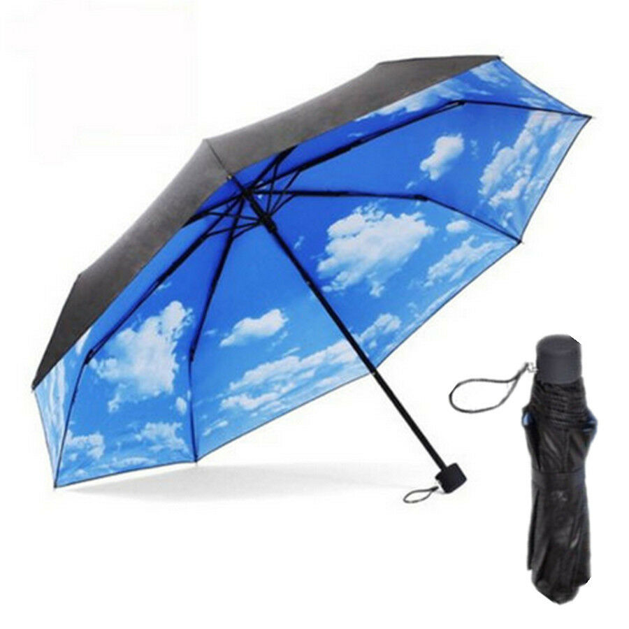 super anti uv sun protection umbrella blue sky 3 folding parasols umbrellas yun ebay. Black Bedroom Furniture Sets. Home Design Ideas