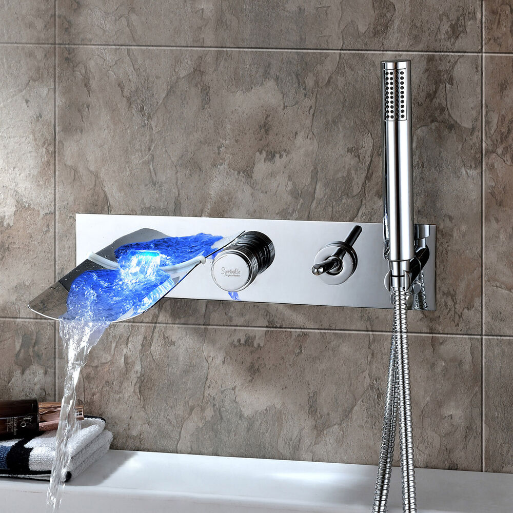 Modern Chrome Finish Led Color Changing Wall Mount Tub