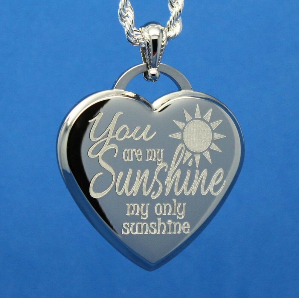 you are my sunshine my only sunshine heart pendant